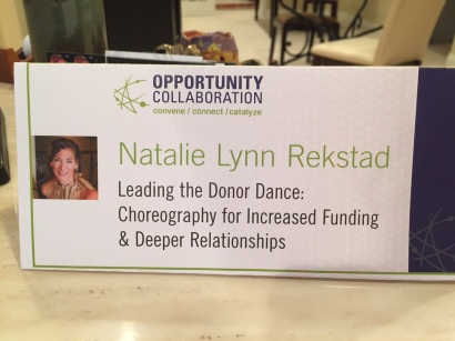 Natalie Lynn Rekstad nameplate at Opportunity Collaboration 2015
